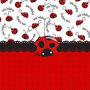 Red Ribbon Digital Art - Ladybug Sweet Surprises  by DMiller