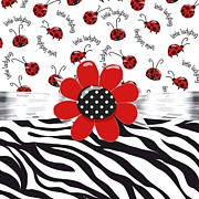 Ribbons Digital Art - Ladybug Wild Thing by Debra  Miller