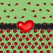 Red Ribbon Digital Art - Ladybugs Hearts Desires  by Debra  Miller