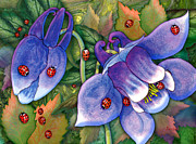 Ladybug Mixed Media Acrylic Prints - Ladybugs on Blue Acrylic Print by Teresa Ascone