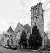 Lafayette Prints - Lafayette Park United Methodist Church BW Print by C H Apperson