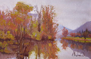 Fall Colors Autumn Colors Pastels Posters - Lago di Mari Poster by Leah Wiedemer