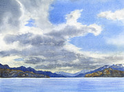 Watercolor Art Paintings - Lago Grey Patagonia by Sharon Freeman
