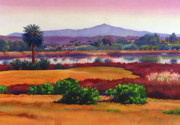 Southern California Paintings - Lago Lindo Rancho Santa Fe Dusk by Mary Helmreich