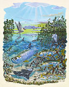 Fishing Rods Posters - Lagoon Poster by Carey Chen