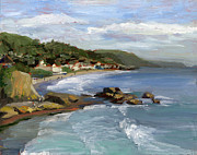Beach Painting Posters - Laguna Beach Poster by Alice Leggett