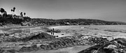 Tide Pools Prints - Laguna Beach Panorama Black and White Print by Eddie Yerkish
