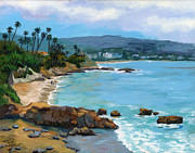 Rocky Shore Prints - Laguna Beach Winter Print by Alice Leggett