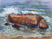 Heisler Park Paintings - Laguna Shoreline Rock by E Williams
