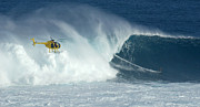 Thelightscene Prints - Laird Hamilton Going Left At Jaws Print by Bob Christopher