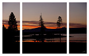 Luminous Digital Art - Lake Almanor Sunset Triptych by Peter Piatt