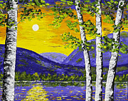 Handmade Trunk Posters - Lake and Mountains At Sunset Palette Knife Painting Poster by Keith Webber Jr