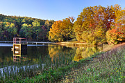 Landscapes Posters - Lake At Chilhowee Poster by Debra and Dave Vanderlaan