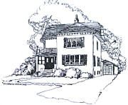 Illinois Drawings - Lake Bluff Illinois Home by Robert Birkenes