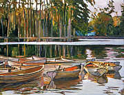 Evening Light Painting Prints - Lake Boats Paris Print by  David Lloyd Glover