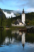 Lake Bohinj Framed Prints - Lake Bohinj - St Johns Church Framed Print by Phil Banks