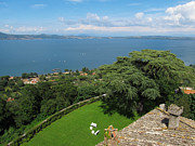 Solid Prints - Lake Bracciano Panoramic view Print by Kiril Stanchev