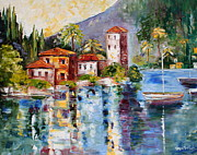 Villa Paintings - Lake Como Italy by Karen Tarlton