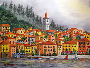Italian Villas Paintings - Lake Como Italy by Val Miller