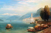 Row Boat Prints - Lake Como Print by Myles Birket Foster