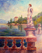 Italian Villas Paintings - Lake Como View by Carolyn Jarvis