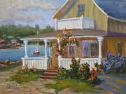 Wooden Building Painting Posters - Lake Cottage Poster by Mohamed Hirji