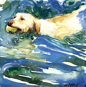 Yellow Labrador Retriever Paintings - Lake Effect by Molly Poole