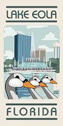 Swan Digital Art Posters - Lake Eola Florida Poster by Jim Sanders
