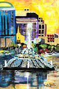 Abstract Fountain Mixed Media Framed Prints - Lake Eola - part 2 of 3 Framed Print by Everett Spruill