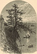 19th Century America Drawings Posters - Lake Erie from Bluff at Rocky River Ohio 1876 Engraving by Harley Poster by Antique Engravings