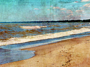 Choppy Digital Art - Lake Erie in June - Vintage by Shawna  Rowe