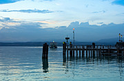 Lakescape Prints - Lake Garda Pier and the Last Ferry for the day Print by Kiril Stanchev