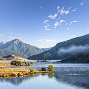 Wildfowl Prints - Lake Grasmere and Southern Alps Canterbury New Zealand Print by Colin and Linda McKie