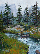 Serene Landscape Painting Originals - Lake Haiyaha by Mary Giacomini