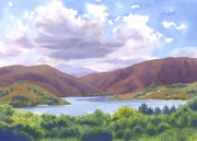 Southern California Paintings - Lake Hodges San Diego by Mary Helmreich