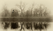 Tony Grider - Lake in Fog Sepia