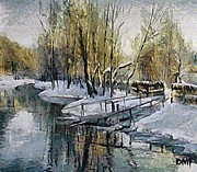 Winter Paintings - Lake in winter by Dragica  Micki Fortuna