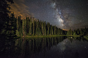 Copyright 2013 By Mike Berenson Framed Prints - Lake Irenes Milky Way Mirror Framed Print by Mike Berenson