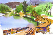 Water Colors Painting Originals - Lake Killarney with Rock Wall by Kip DeVore