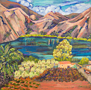 Crete Painting Originals - Lake Kournas Crete by Doris  Lane Grey