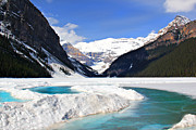 Leslie Kirk Photo Framed Prints - Lake Louise Canada Framed Print by Leslie Kirk