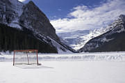 Alberta Framed Prints - Lake Louise Hockey Net Framed Print by Bill Cubitt