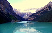 Calm Waters Posters - Lake Louise Stillness Poster by Karen Wiles