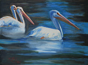 Pelican Painting Originals - Lake Loveland Visitors by Billie Colson