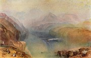 Romanticism Posters - Lake Lucerne 1802 Poster by Joseph Mallord William Turner