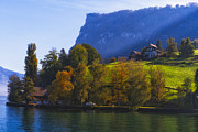 House On The Hill Prints - Lake Lucerne Fall Morning Print by George Oze