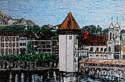Swiss Drawings - Lake Lucerne by Monica Engeler
