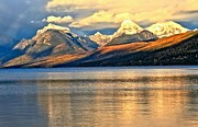Sunset In Mountains Posters - Lake McDonald Sunset Poster by Adam Jewell