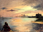 Beautiful Vistas Painting Posters - Lake Michigan Chicago Skyline 1952 Poster by Art By Tolpo Collection