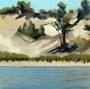 Shoreline Painting Posters - Lake Michigan Dune with Trees and Beach Grass Poster by Michelle Calkins